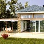 Гостевой домик с перголой на террасе