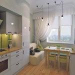 Дизайн кухни с обеденной зоной возле окна