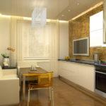 Белый диван в обеденной зоне кухни