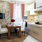 Дизайн линейной кухни с обеденной зоной