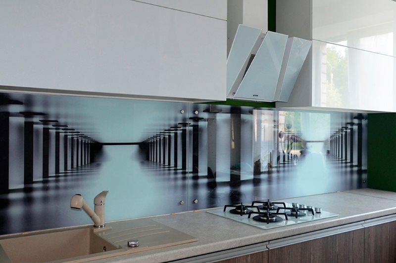 Архитектурная картинка на скинали в кухне стиля модерн