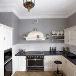 Серые стены в интерьере кухни