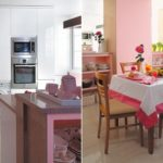 Теплые оттенки розового в интерьере кухни