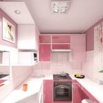 Дизайн маленькой кухни в розовых тонах