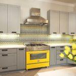 Желтый цвет в качестве акцента в интерьере кухни