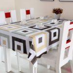 Крупный геометрический принт на кухонной скатерти