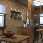 Кирпичные стены кухни в стиле лофт