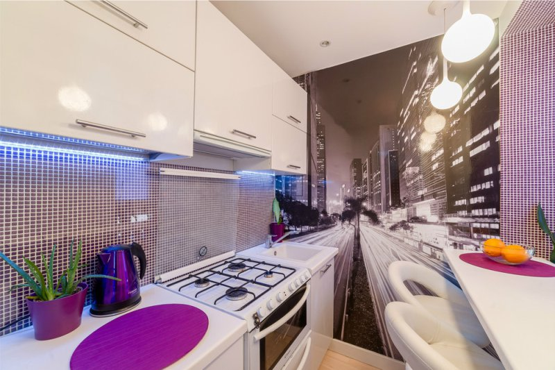 Фотообои в интерьере кухни в хрущевке