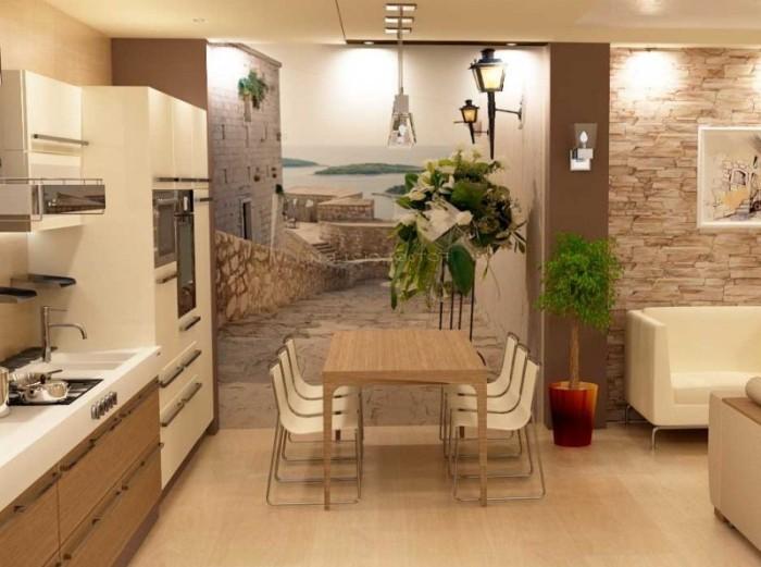 Фотообои в дизайне кухни.