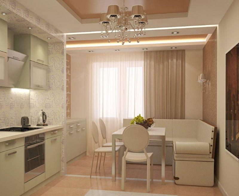 Дизайн кухни с диваном и выходом на балкон