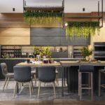 Серая мебель на кухне в эко стиле