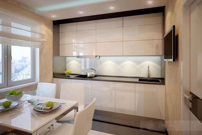 Бежевая кухня в стиле хай-тек угловой планировки