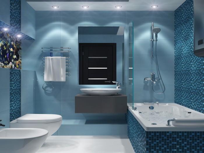 оттенки синего в ванной.