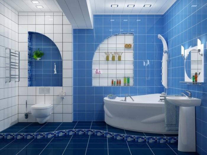 Угловая ванна в синей ванной.