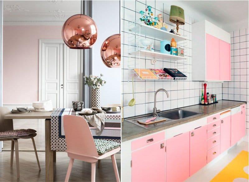 Теплые и холодные оттенки розового в интерьере кухни