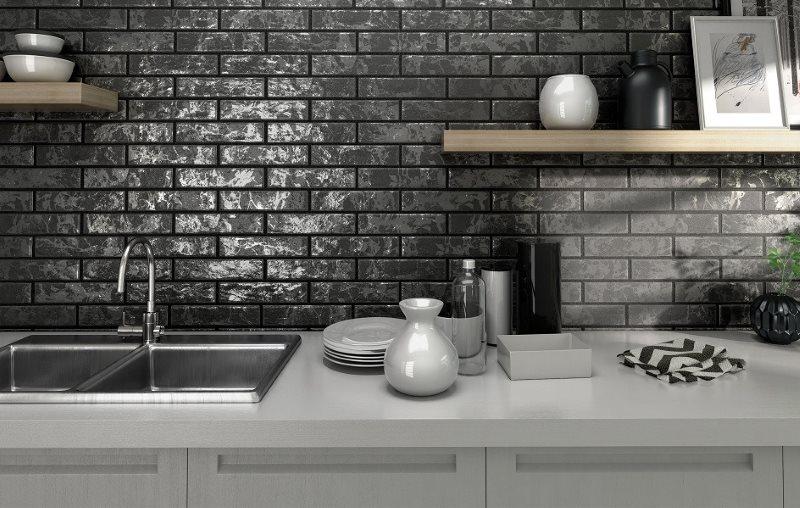 Плитка кабанчик на кухне в индустриальном стиле