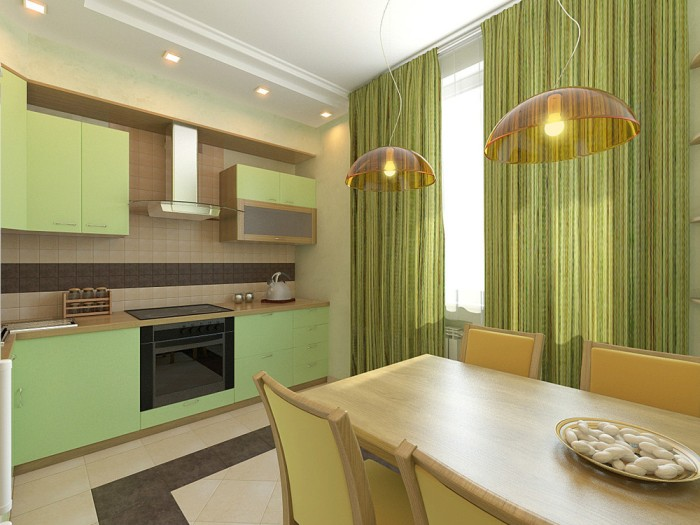 Фисташковая модульная кухня.