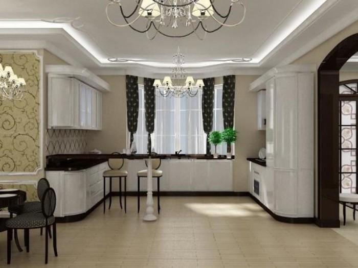 Кухня П-образная в современном стиле.