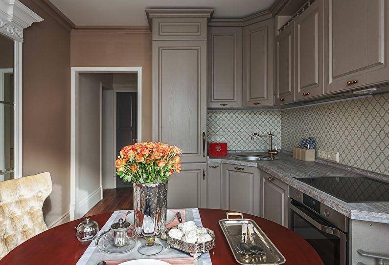 Угловая кухня 9 кв метров в классическом стиле