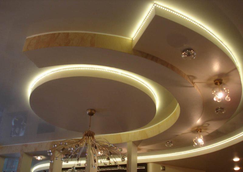 Комбинированная подсветка кухонного потолка из гипсокартона