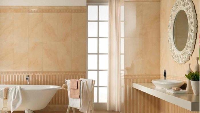 Бежевый цвет в ванной.