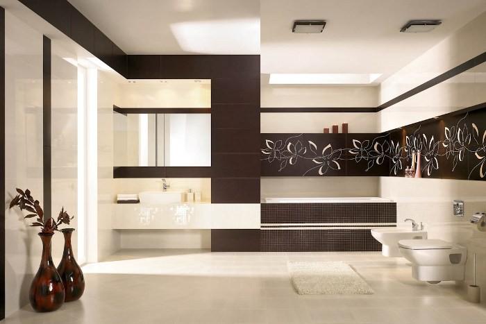 Бежево-коричневая ванная.