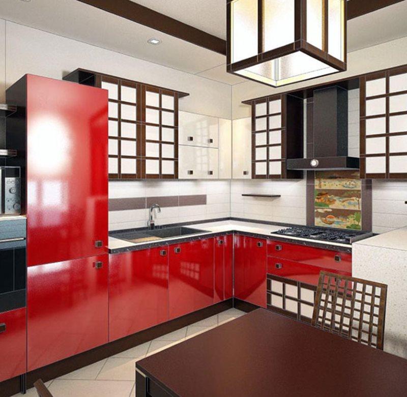 Угловая кухня с красными фасадами в японском стиле