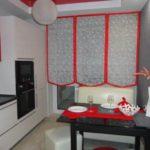 Оформление окна до пола в кухне панельного дома