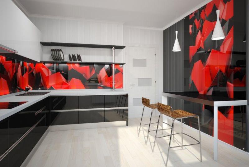 Красно-черный фартук на кухне в современном стиле