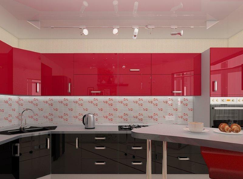 Кухонный гарнитур с черным низом и белым верхом