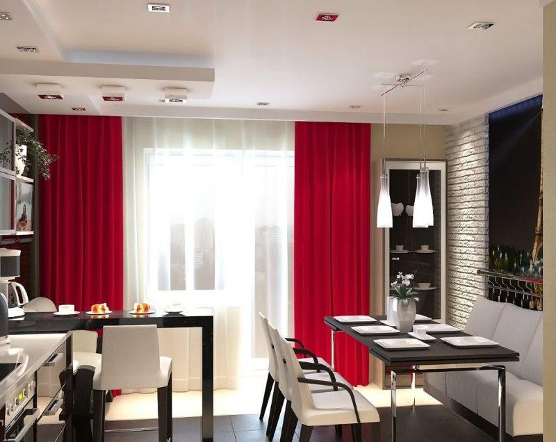 Прямые шторы красного цвета в кухне с черным столом