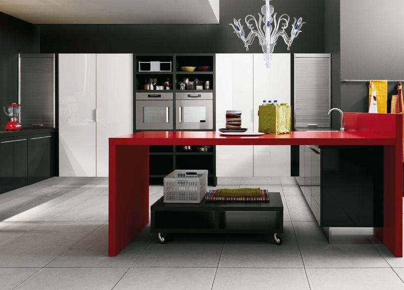 Красный стол с мойкой в кухне современного стиля