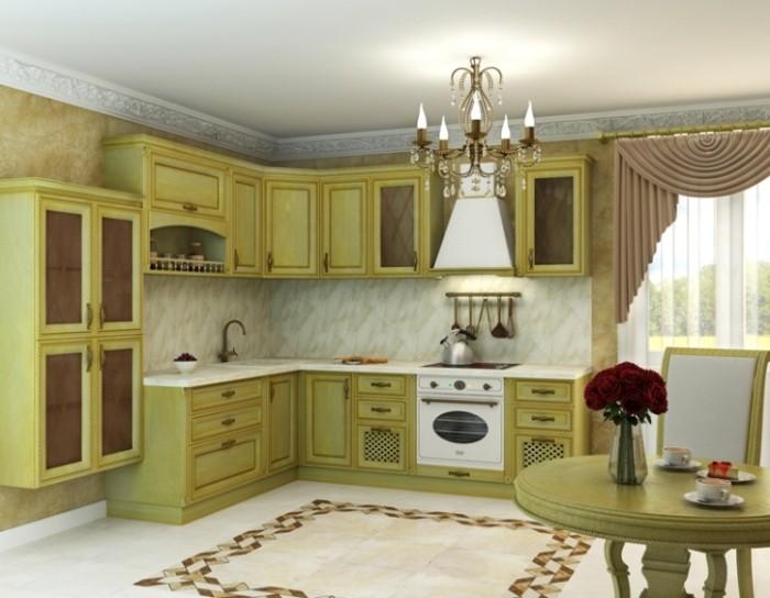 Кухня классическая фисташковая.