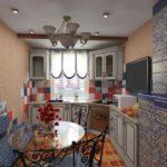 Дизайн компактной кухни в доме старой планировки
