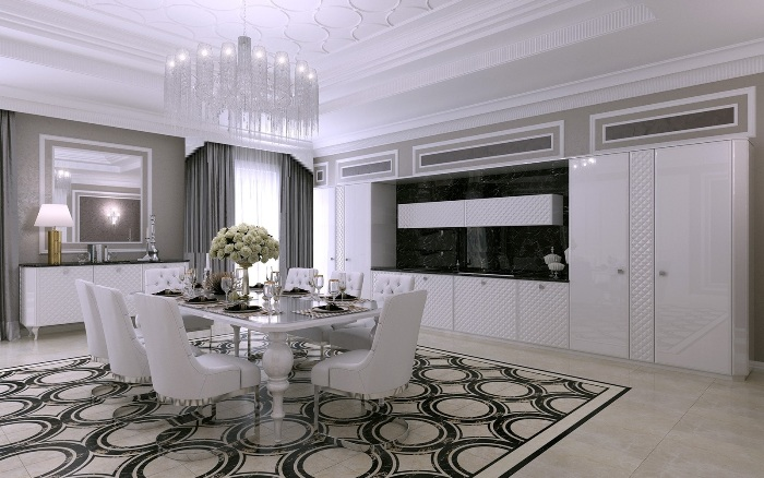 Белая современная кухня.