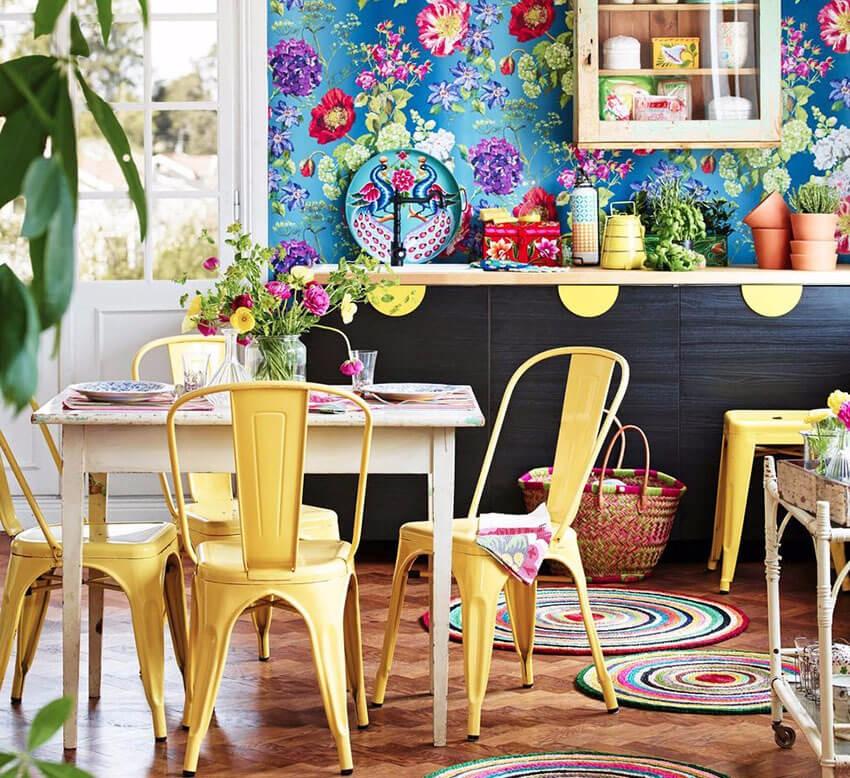 Интерьер кухни в стиле бохо в частном доме