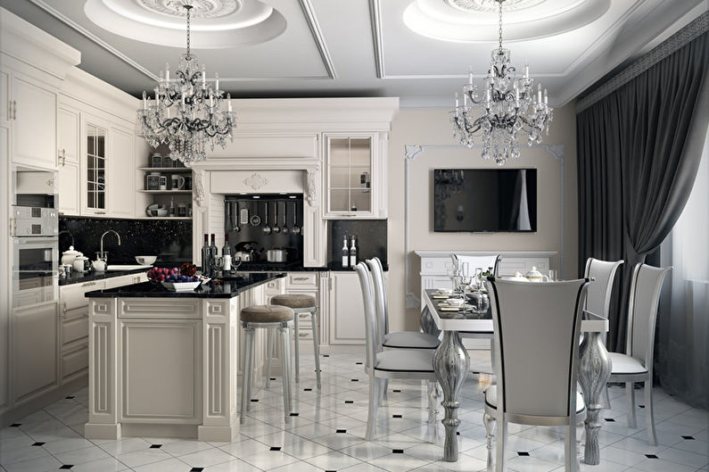 Дизайн кухни-гостиной в стиле арт-деко