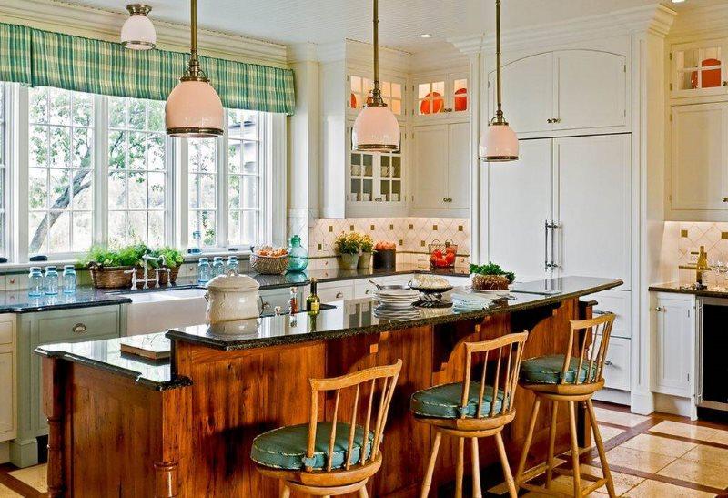 Барная стойка в виде острова на кухне в стиле кантри