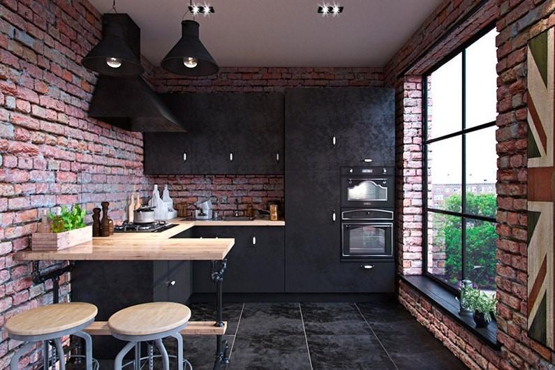 Кирпичные стены кухни с панорамным окном