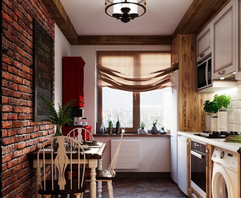 Кирпичная стена в узкой кухне стиля лофт