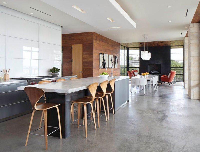 Серое напольное покрытие в кухне стиля модерн