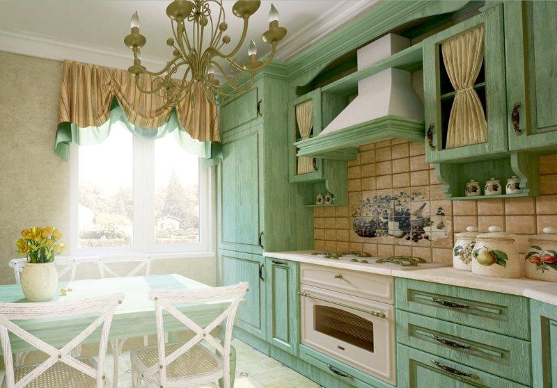 Линейны гарнитур в кухне деревенского стиля