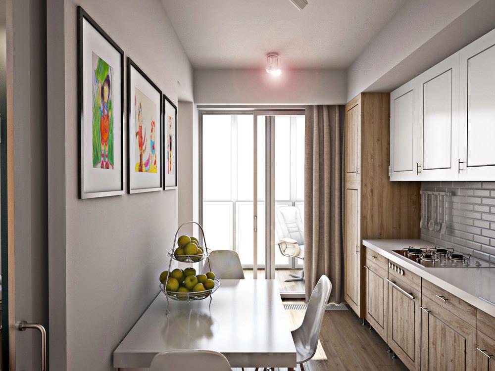 Панорамное окно в конце узкой кухни с балконом
