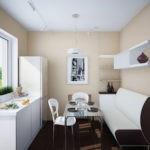 Дизайн небольшой кухни с диваном у стены
