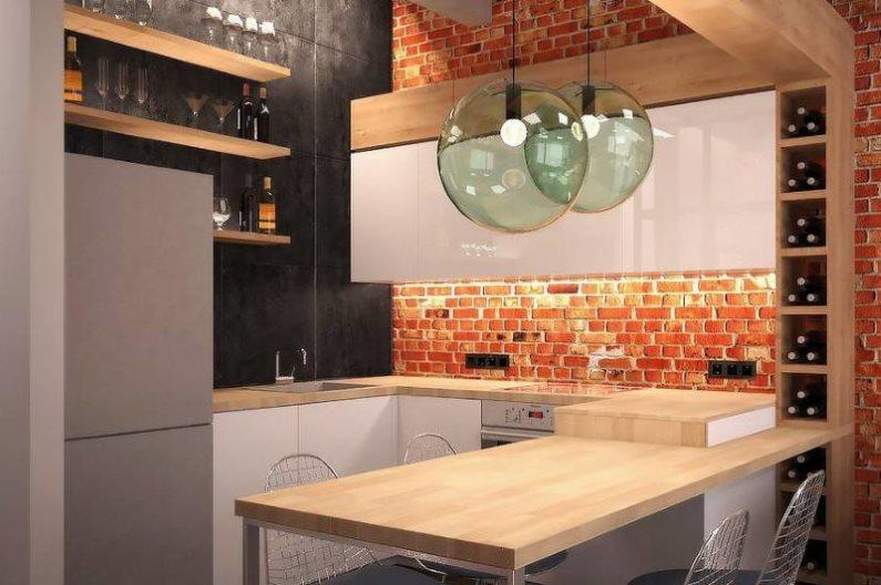 Дизайн компактной кухни в стиле лофт