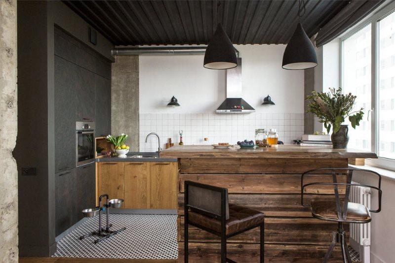 Серые стены кухни в индустриальном стиле