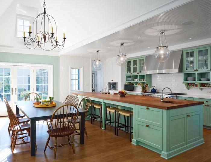 Сочетание зеленого на кухне.