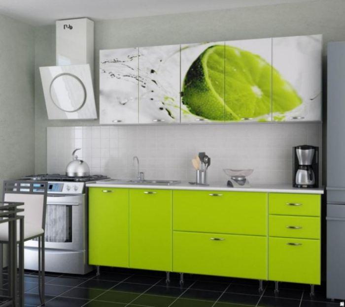 Стиль кухни в зеленом цвете.