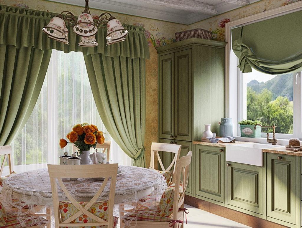 Декор окна ламбрекеном на кухне в стиле прованс