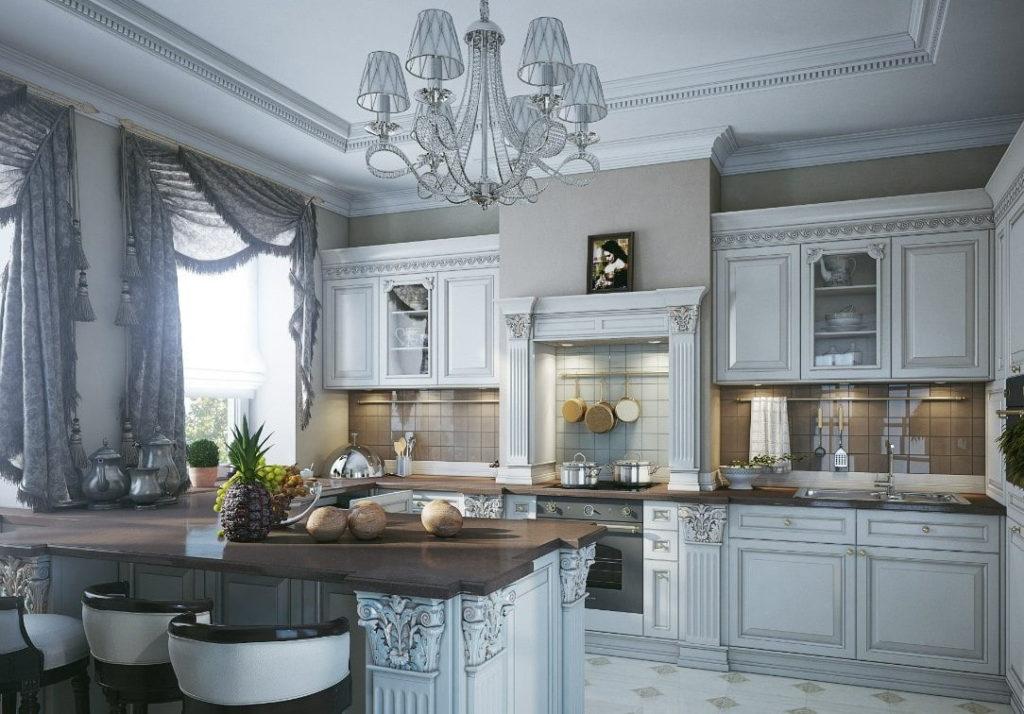Занавески с бахромой на окне кухни-столовой